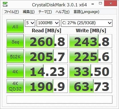 CrystalDiskMark ディスクアクセス性能を計測