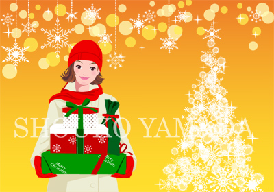 女性イラスト 人物画像素材 クリスマス プレゼント ツリー