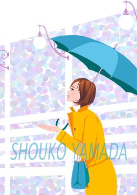 女性イラスト 人物画像素材 傘 コート 雨 梅雨 入梅