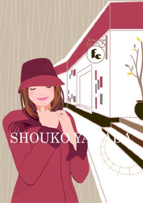 女性イラスト 人物画像素材 コート 秋 帽子