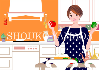 若い女性イラスト人物画像素材 料理 クッキング キッチン 癒し系 さわやか