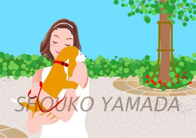 女性イラスト 人物画像 犬 散歩 若い 夏 公園 癒し系 若い かわいい