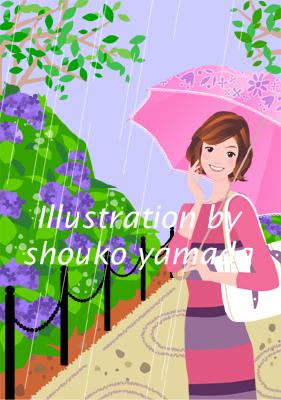 女性イラスト人物画像 雨とアジサイ 傘 入梅 梅雨