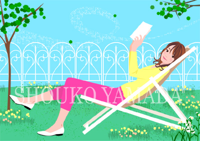 女性イラスト 人物画像 春 読書 ガーデン 癒し系 かわいい shouko yamada イラストレーター 山田聖子