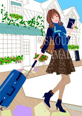 女性イラスト 人物画像素材 旅行 秋 イラストレーター 山田聖子 shouko yamada