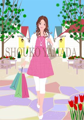 女性イラスト 人物画像素材 ショッピング 春 癒し系 イラストレーター 山田聖子 shouko yamada かわいい