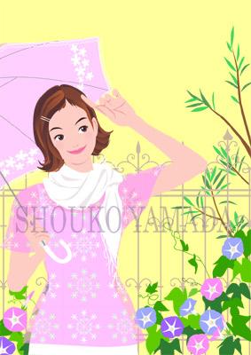 女性イラスト 人物画像素材 夏 日差し 日傘 UV イラストレーター 山田聖子 shouko yamada 癒し系 かわいい