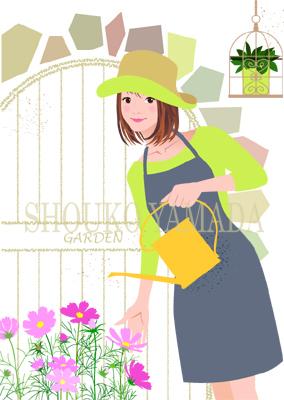 女性イラスト 人物画像素材 コスモス 秋 春 癒し系 かわいい イラストレーター 山田聖子 shouko yamada
