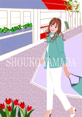 女性イラスト 人物画像素材 ショッピング ランチ 癒し系 かわいい イラストレーター 山田聖子 shouko yamada