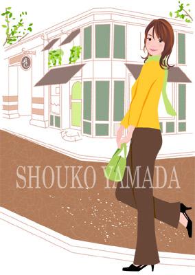女性イラスト 人物画像素材 癒し系 ショッピング 歩く イラストレーター 山田聖子 shouko yamada