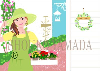 女性イラスト 人物画像素材 癒し系 かわいい ガーデニング 春 イラストレーター 山田聖子 shoukoyamada
