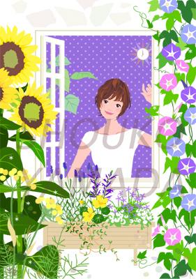 女性イラスト 人物画像素材 夏 朝顔 ひまわり イラストレーター 山田聖子 shouko yamada