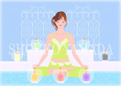 女性イラスト人物画像素材 瞑想 癒し系 かわいい shoukoyamada イラストレーター