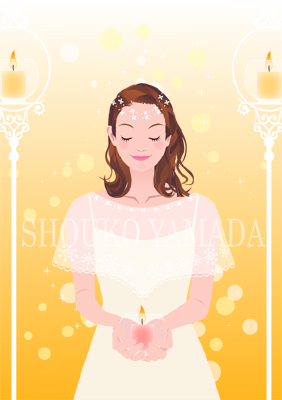 女性イラスト人物画像素材 祈り キャンドル 癒し系 かわいい shoukoyamada イラストレーター