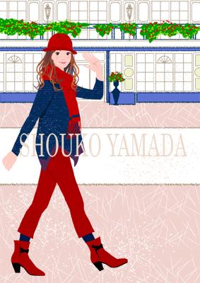 女性イラスト 人物画像素材 歩く 癒し系 かわいい shoukoyamada イラストレーター