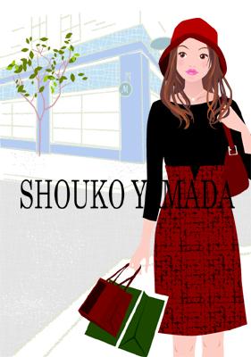 女性イラスト人物画像素材 癒し系 かわいい 買い物 ショッピング 癒し系 かわいい イラストレーター shoukoyamada