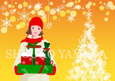 イラスト女性 クリスマス