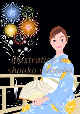 夏 浴衣 花火 女性 イラスト イラストレーター