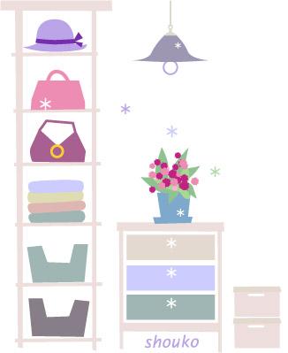 無料イラスト フリー素材 クローゼット 女性の部屋 インテリア Shoukoyamada イラストブログ