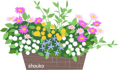 無料素材 フリーイラスト 花の寄せ植え