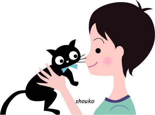 イラスト猫と子供 無料素材 ペット