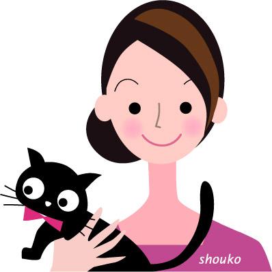ネコと女性 イラスト無料 フリー素材 ペット