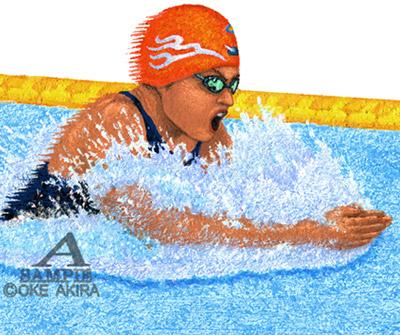 イラストスポーツ水泳平泳ぎ人物