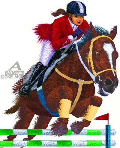 イラストレーション人物乗馬