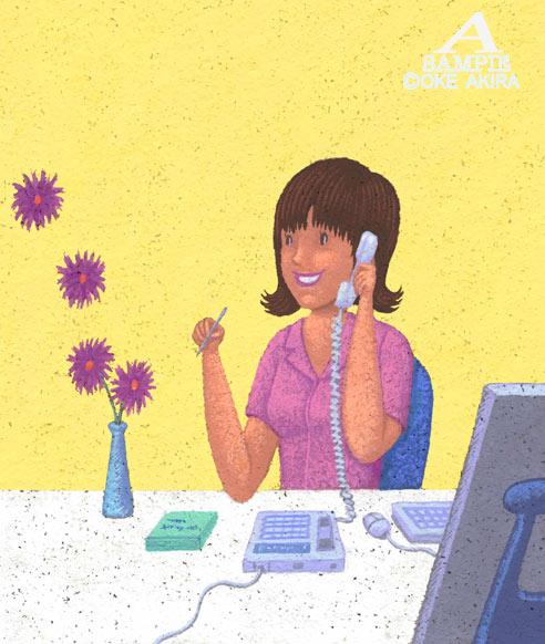 イラスト、女性、オフィス、OL、電話、デェスク、