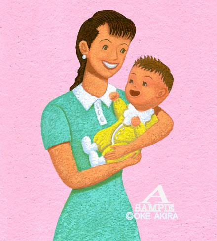 赤ちゃんとお母さんイラスト、桶あきら