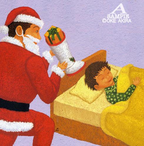 クリスマスイラスト、サンタ、子供、X`Mas