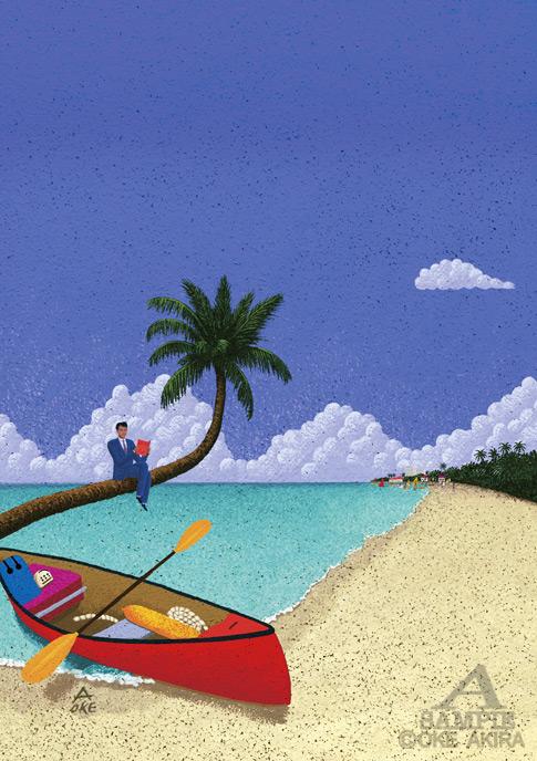 ビーチ イラスト イメージ 海 風景 カヌー ヤシの木7月
