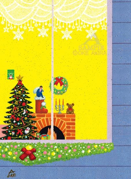 クリスマス ツリー、イラスト、12月風景