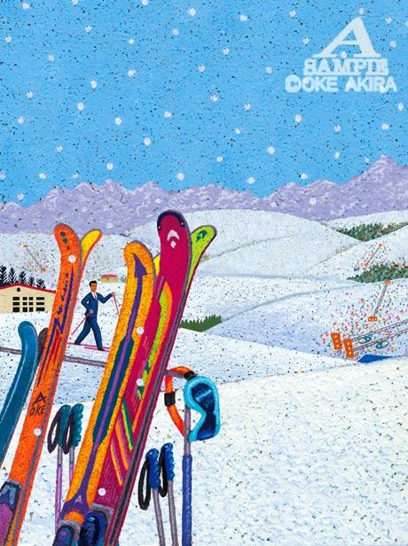 スキー場イラスト、雪山、風景