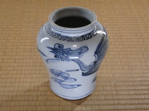 李朝鳳凰壺 李朝陶器