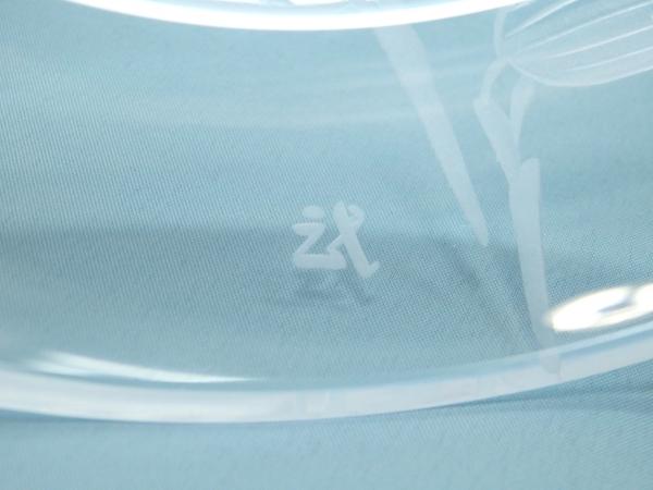 青野武市 クリスタル笹文銘々皿 5客 共箱 ガラス 夏のうつわ 食器