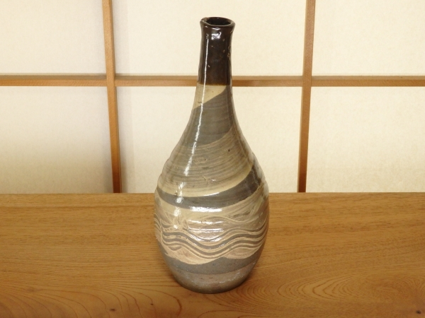 江戸時代初期 木原窯 刷毛目酒瓶 骨董 酒器