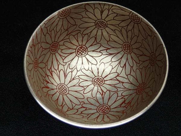 叶松谷 瑠璃地 内銀菊画 豆蓋物 10客 和食器