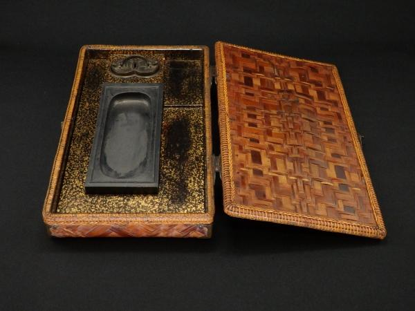 竹組硯箱 文具 机飾 骨董 アンティーク