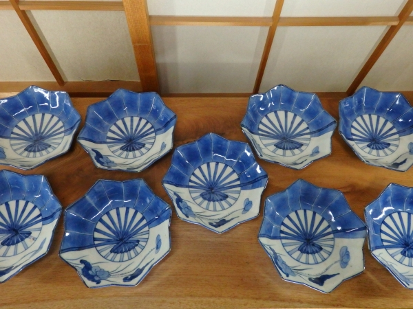 伊万里扇形中皿 9客 骨董 うつわ 食器 和食器