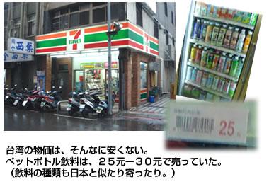 台湾台北のコンビニ。物価事情