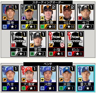 プロ野球チームをつくろう ONLINE2 スタメン 野手 8-2