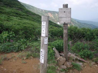 笊森山方面の分岐