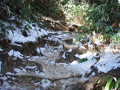 凍った登山道