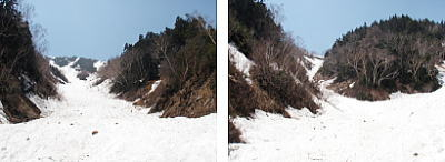 2つの雪渓