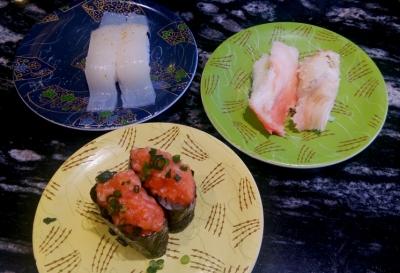 東急プラザ銀座「回転寿司 根室花まる 銀座店」たらばふんどし サーモン中落ち イカ