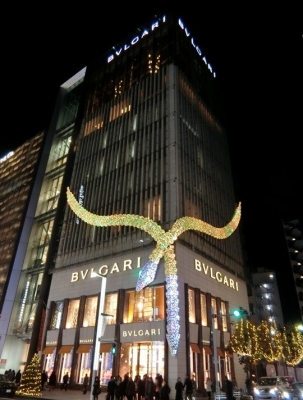 BVLGARI ブルガリ 銀座タワー イルミネーション 2017 ヘビ