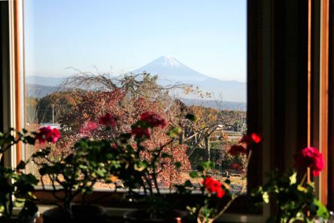 植月邸窓辺から望む富士山