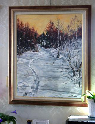 応接間に飾られた植月躋さんの絵、八ヶ岳・赤岳登山の雪の絵「赤岳への道、美濃戸口にて」
