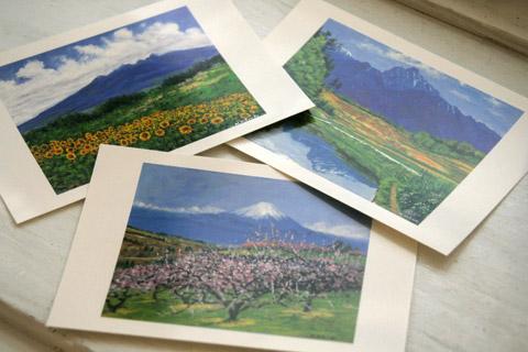 植月さんの絵はがき(八ヶ岳南麓とその周辺からの風景、12景。八ヶ岳,甲斐駒,富士山)